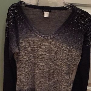 Scoop in back, black white and sequin top by Venus